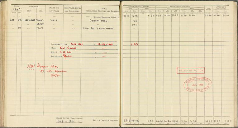 Private Papers of Flying Officer F C Harrold - Log Book